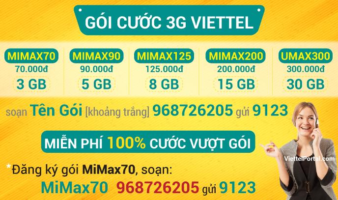 Gói cước 3G Viettel
